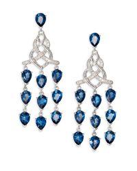 John Hardy - Classic Chain London Blue Topaz Diamond Sterling Silver Knot Chandelier Earrings - Lyst