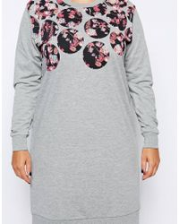 ASOS - Gray Exclusive Sweat Dress With Floral Circles - Lyst