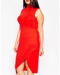 ASOS | Red Sleeveless Bodycon Dress With High Neck And Asymmetric Hem | Lyst