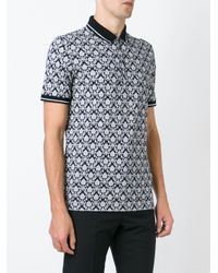 Dolce & Gabbana Black Baroque Print Polo Shirt for men