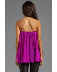 Blaque Label Purple Strapless Ruffle Top in Pink