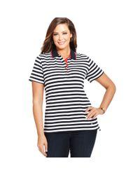 Jones New York - White Signature Plus Size Shortsleeve Striped Polo Shirt - Lyst