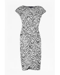 French Connection   Gray Leo Jacquard Jersey Print Dress   Lyst