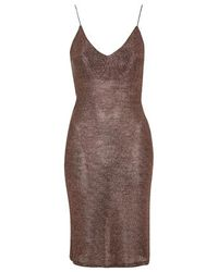 TOPSHOP - Brown Strappy Chainmail Bodycon Dress - Lyst