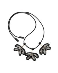Marni Black and Clear Resin Three Leaf Necklace