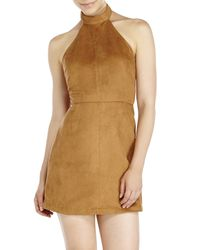 Re:named - Natural Faux Suede Halter Dress - Lyst