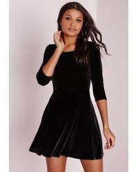 Missguided - 3/4 Sleeve Velvet Skater Dress Black - Lyst