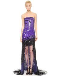 Monique Lhuillier Strapless Illusion Gown - Purple/black