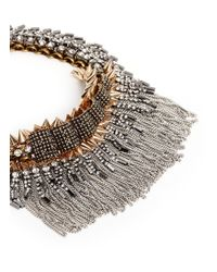 Venna | Metallic Crystal Pavé Plate Fringe Collar Necklace | Lyst
