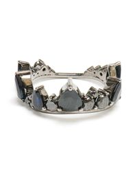 Fernando Jorge - 18k Oxidised Gold and Black Diamond Crown Ring - Lyst