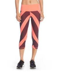 Adidas | Red Performer Mid-rise Three-Quarter Leggings | Lyst