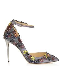 Jimmy Choo Multicolor Lorelai 100 Anthracite Fine Glitter Fabric Pumps With Pecan Leather Flower Mix Embellishment