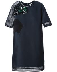 Fendi Blue Embellished Mesh Shift Dress