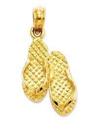 Macy's | Metallic 14k Gold Charm, 3d Myrtle Beach Flip-flops Charm | Lyst