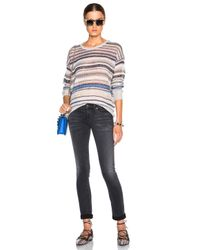 INHABIT Multicolor Cashmere Crew Sweater