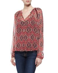 Ella Moss - Multicolor Long-sleeve Mandarin-print Top - Lyst
