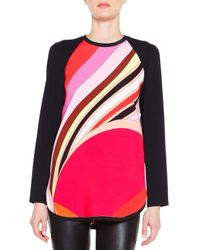 Emilio Pucci - Black Long-sleeve Printed Colorblock Tunic - Lyst