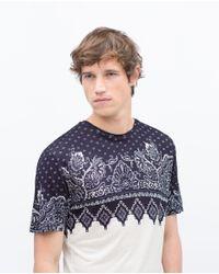 Zara | White Printed T-shirt for Men | Lyst