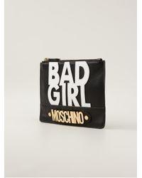 Moschino Black Bad Girl Envelope Clutch