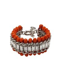 Dyrberg/Kern - Red Kaiser Coral Crystal Bead Silver Plated Bracelet - Lyst