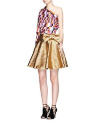 Lanvin Metallic Wrapped Bow Cotton Lamé Flare Skirt