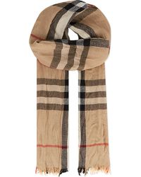 Burberry Natural Checked Scarf for men