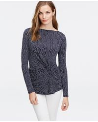 Ann Taylor - Blue Dot Knotted Crepe Top - Lyst