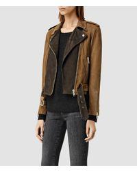 AllSaints | Brown Hyland Biker Jacket | Lyst