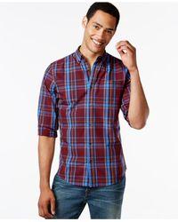 Tommy Hilfiger | Blue Lockheed Plaid Long-sleeve Custom-fit Shirt for Men | Lyst
