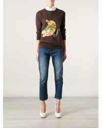 Carven - Brown Banana Embroidered Sweatshirt - Lyst