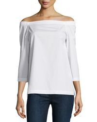 Theory - White Vinata Sartorial Off-the-shoulder Top - Lyst