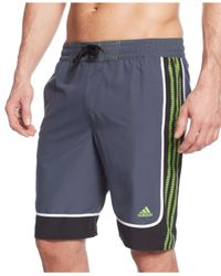 Adidas | Green Big And Tall Predator Striped Volley Shorts for Men | Lyst