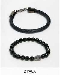 Simon Carter | Black Leather & Semi Precious Bracelet Pack for Men | Lyst