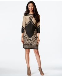 Eci | Black Mixed-print Sheath Dress | Lyst