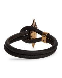 Alexander McQueen | Black Skull-embellished Leather Cord Bracelet | Lyst
