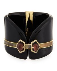 Alexis Bittar | Black Lucite Crystal Hinge Cuff With Mother-of-pearl | Lyst