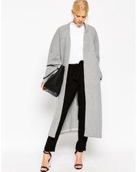 ASOS Gray Textured Maxi Jacket