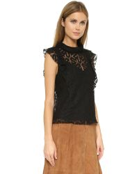 Twelfth Street Cynthia Vincent - Lace Turtleneck Tank - Black - Lyst