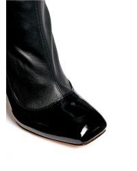 Alexander McQueen Black Perspex Heel Mix Leather Boots