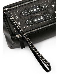 Givenchy Black 'pandora' Stud Leather Wristlet Pouch