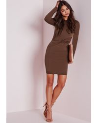Missguided - Brown Long Sleeve Twist Front Bodycon Dress Chocolate - Lyst
