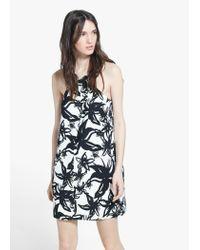 Mango White Floral Print Dress