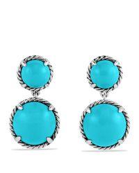 David Yurman Metallic Châtelaine Double Drop Earrings With Turquoise