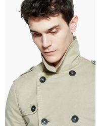 Mango Natural Cotton Canvas Trench Coat for men