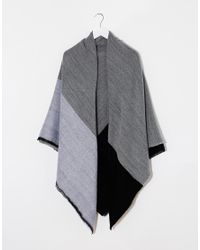 ASOS - Gray Oversized Scarf In Color Block - Lyst