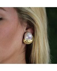 Yvel | Metallic Baroque Fresh Water Pearl Earrings | Lyst