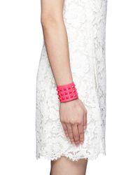 Valentino | Pink Rockstud Wide Leather Bracelet | Lyst