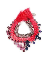 Joomi Lim | Multicolor Cotton Braid Crystal Bracelet | Lyst