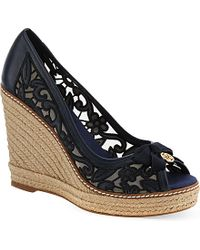 210ea3d880fd Lyst - Tory Burch Lucia Lace Wedge Sandals in Blue