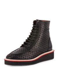 Givenchy Black Perforated-cross Platform Boot for men
